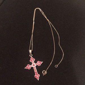 Jewelry - Pink Rhinestone Cross Necklace